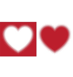 Red hearts with halftone effect isolated vector