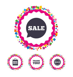 sale speech bubble icon thank you symbol vector image