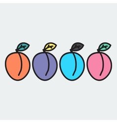 set of hand-drawn apricot - on the theme of the vector image