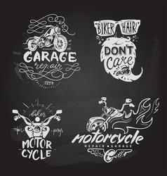 Set of vintage motorcycle emblems labels badges vector