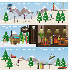 set of winter fun posters banners in flat vector image vector image