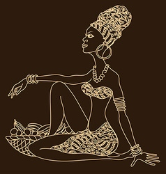 Silhouette of beautiful african girl vector