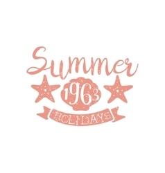 Summer holidays pink vintage emblem vector