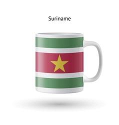 Suriname flag souvenir mug on white background vector