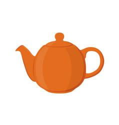 Teapot pottery fictile clay teakettleflat style vector