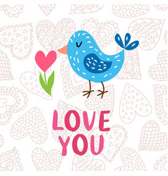 Valentine s day greeting card with bird vector