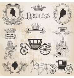 Vintage Princess Girl Set vector image