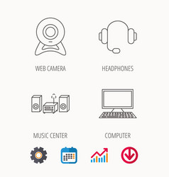 Web camera headphones and computer icons vector