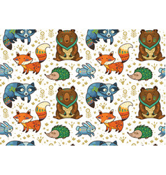 Woodland annimals seamless pattern vector
