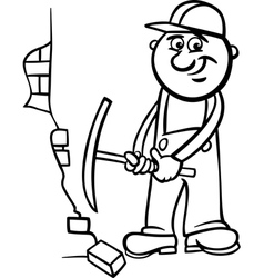 worker with pick coloring page vector image
