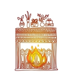 Hand drawn background fireplace gifts and vector