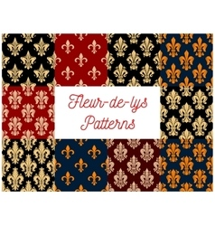 French victorian fleur-de-lis seamless pattern set vector