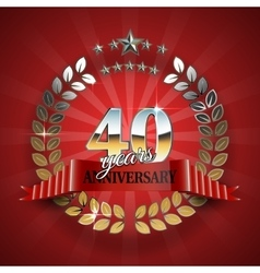Anniversary 40th ring with red ribbon vector