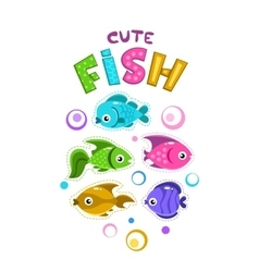 Funny childish print template with colorful fishes vector