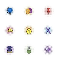 Learning in school icons set pop-art style vector