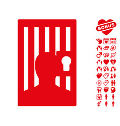 Prison door icon with lovely bonus vector