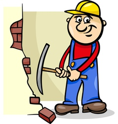 Worker with pick cartoon vector