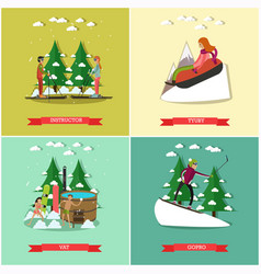 Set of winter fun posters in flat style vector
