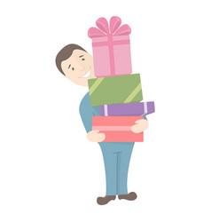 man holds gifts vector image