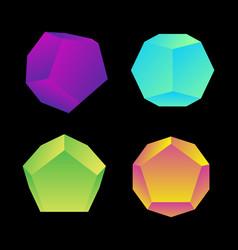 Glossy platonic solids set vector