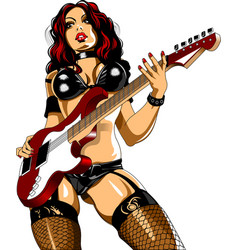 Woman guitarist vector