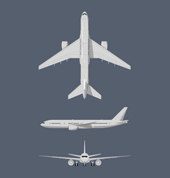 Different sides of modern airplane vector