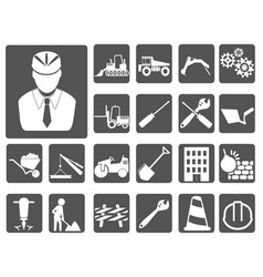 Engineer and construction icon buttons set vector