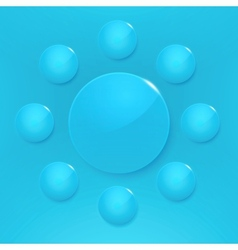 Modern glossy circles on blue background vector