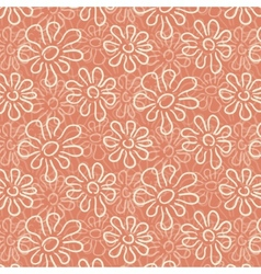 White flower pattern on warm pink background vector