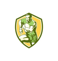 Rugby player running goose steps shield retro vector
