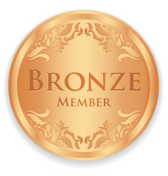 Bronze member badge with vintage pattern vector