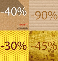 90 30 45 icon set of percent discount on abstract vector