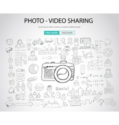Photo video sharing concept with doodle design vector