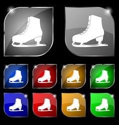 Ice skate icon sign set of ten colorful buttons vector