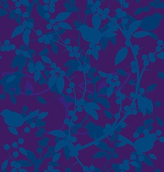 Seamless pattern of blackthorn berries and birds vector
