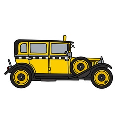 Vintage yellow taxi vector