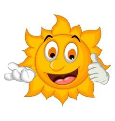 sun cartoon thumb up vector image