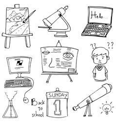 Object school doodles computer laptop paper vector