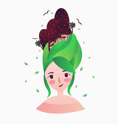 a beautiful girl with green hair and woman hair vector image