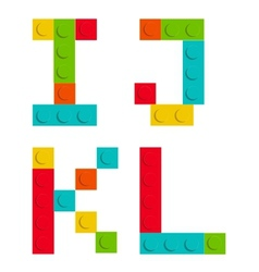 Alphabet set made of toy construction brick vector image
