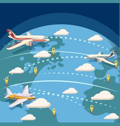 Aviation global logistic concept cartoon style vector