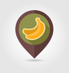 banana flat pin map icon tropical fruit vector image vector image