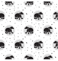 Bear black and white tribal seamless vector