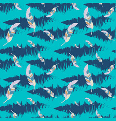 Blue seamless pattern with feathers vector