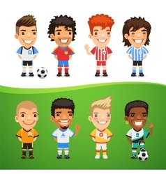 Cartoon international soccer players set vector