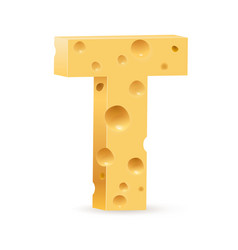 Cheese font t letter on white vector