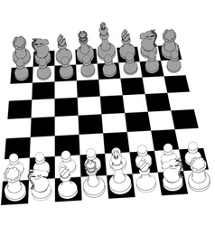 Chess set game pieces line drawing 3D vector image vector image