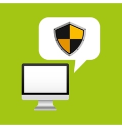 Computer protection shield sign icon design vector