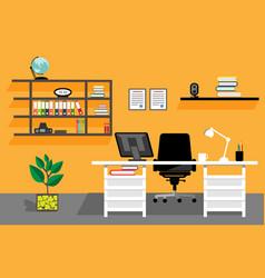 Creative office desktop workspace vector