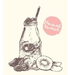Drawn homemade lemonade sketch vector